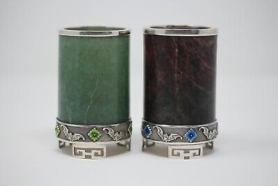 Fine Old Chinese Silver Hard stone Jade Enamel Pen Holders Stamped Silver