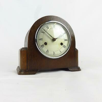 Smiths Enfield Art deco windup wooden mantle clock with key Roman Numerals used