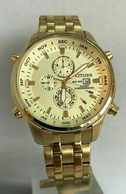 Citizen Men's Gold Tone Chronograph Alarms Quartz Bracelet Watch AL3882-50P