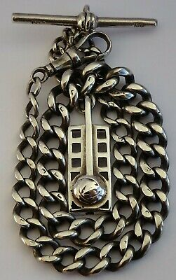 Superb antique solid sterling silver pocket watch albert chain & silver fob