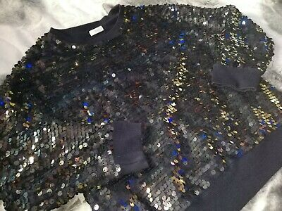 VGC Girls NEXT Navy Sequin Sparkly Christmas Winter Jumper Party Top 10-11 Years