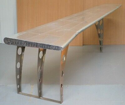 1 Of 2 Stunning Aluminium Aeroplane Wing Desks Nice Writing Tables Large Sized