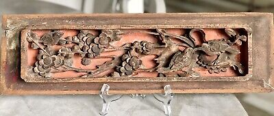 EXQUISITE 19th CENTURY ASIAN CARVED PANEL HANGING PIERCED RELIEF EXOTIC BIRD