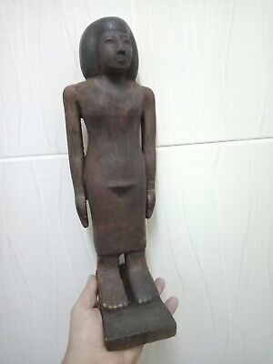 A rare statue of a pharaoh. Ancient Egyptian civilization. Wood 40cm