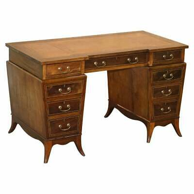 Very Rare Victorian Tapered Pedestal Desk With Brown Leather Writing Surface