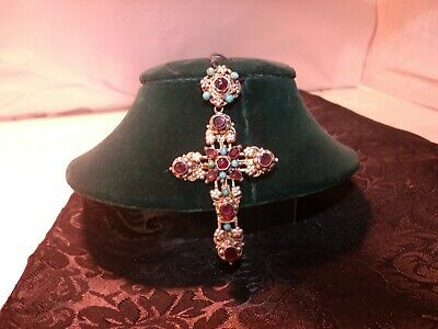 Antique Austro-Hungarian Gilt Silver Jeweled Cross Pendant Turquoise & Amethyst