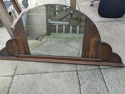 Large old antique vintage mantle piece sideboard top mirror wooden shaped round