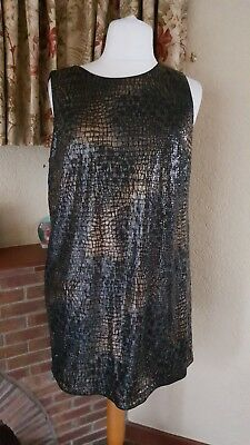 Ladies Black Gold Sequin Sleeveless Dress From Next - Size 18 - Party - New