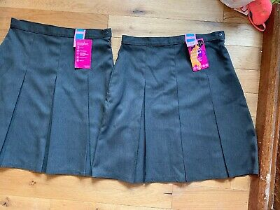 Two BNWT Marks & Spencers Girls grey pleated school skirts waist 28 inches