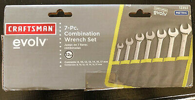 CRAFTSMAN 7 Pc 12 Point Metric WRENCH SET W/ Roll Pouch Combination NEW Evolv Pt