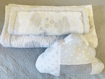 Baby cot quilt, pillow case and cushion. Unisex boy girl, grey with clouds
