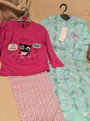 BNWT 2 Pairs Of Girls Pyjamas Age 4-5 Years Disney Tinkerbell Allin1 Boots Bear