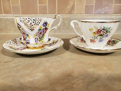 Vintage Queen Anne Fine English Bone China Tea Cup And Saucers