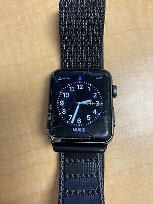 AppleWatch Series 3 GPS + LTE Cellular 42mm Space Gray Aluminum Cracked Screen