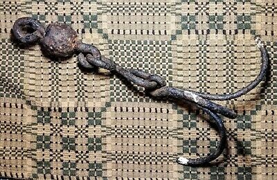 Antique Hand Forged Wrought Iron Meat Hook Kitchen Fireplace Hearth Primitive