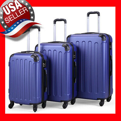 3 Piece Luggage Set Travel Trolley Suitcase ABS+PC Nested Spinner w/ Cover 👌