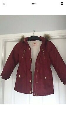 GEORGE GIRLS HOODED WINTER COAT - 6/7 Years - Height 116/122cm - Maroon/ Red