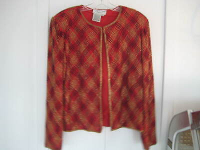 "Womens size L Evening Red Silk Beaded Jacket ""Papell Boutique"" Cocktail Party"