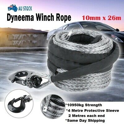 Winch Rope 10MM x 20M Dyneema SK75 Hook Synthetic Car Tow Recovery Cable