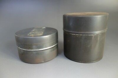 Japanese small Tea caddy canister chazutsu Tin green tea vintage 2 pieces