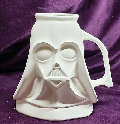 Darth Vader Mug, Ceramic Bisque, Ready to Paint