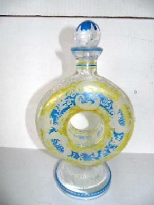 "Antique Art Deco ""Yellow,Blue,Clear"" Bohemian Cut Glass Doughnut Shaped Decanter"