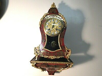 Miniature French Boulle Clock With Matching Shelf