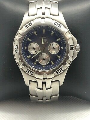 Watch Bq9177 New Chronograph Steel Stainless Fossil Men's k08POXnw