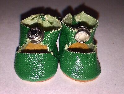 """VINTAGE 1950s Green Oilcloth Center Snap Shoes For 8"""" Vogue Ginny, Alexanderkins"""