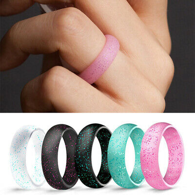 Silicone Rubber Flexible Band Wedding Ring Men/Women Sport Gym Safe Work Gym1PC