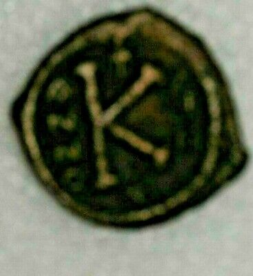 Byzantine Empire Justin Ii Ae Half Follis Coin Thessalonika Year 3 565-578 Ad