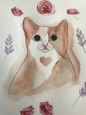Cat Painting Sweetie Muffin. Paige Valentino A4 Animal Art Original