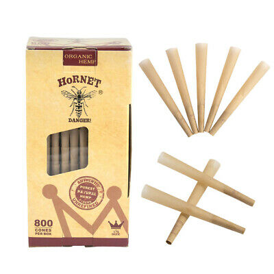 800X HORNET 78MM Natural Pre-Rolled Unrefined Rolling Paper Cones With Tips