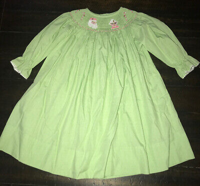 NWT Hand Smocked Christmas Santa Claus Green Lattice Dress The Smocked Shop