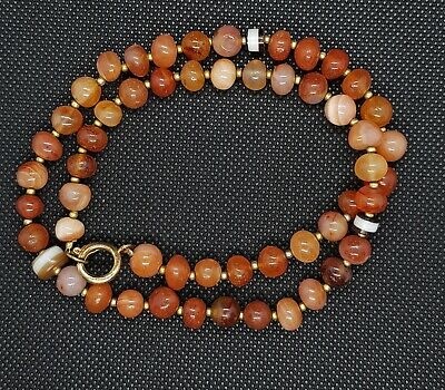 ANCIENT ! Extremely Rare Old Gueniue Agate Stone Beads Wonderful Necklace