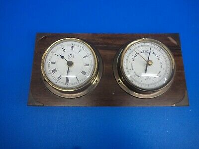 Ships Clock and Barometer set by GB mounted on wood