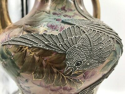 Antique Nippon Satsuma Japan Vase Large Moriage Hand painted Bird Flowers