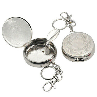 Portable Ashtray Car Cigarette Ashtray Stainless Steel Ashtray with Key ChainJP