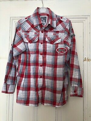 Boys Red 'Rock' Checked Long Sleeve Shirt, Aged 8, 100% Cotton
