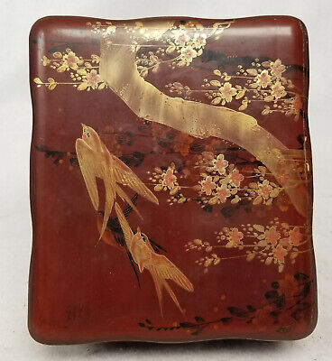 Antique Japanese Vintage Lacquered Box With Gold Decoration Birds Swallows
