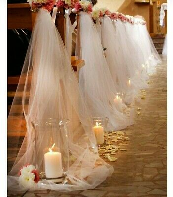 Wedding Church Pew Ends Tulle Bows 4 34 Picclick