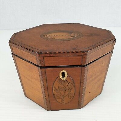 Antique George III Satinwood Single Compartment Tea Caddy Shell & Floral Inlay