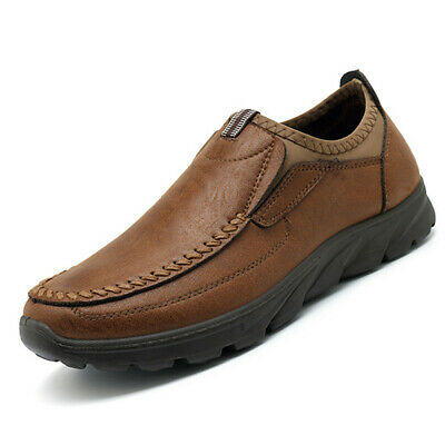 Men's Hand Stitching Leather Casual Shoes Breathable Antiskid Loafers Moccasins