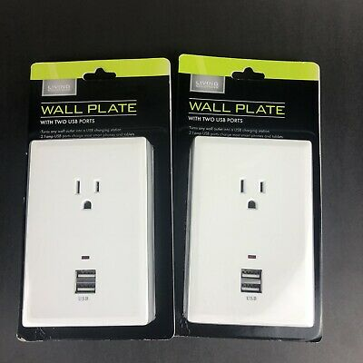 NEW Living Solutions Wall Plate with 2 USB Ports Lot of 2 2.1 amp Smartphone