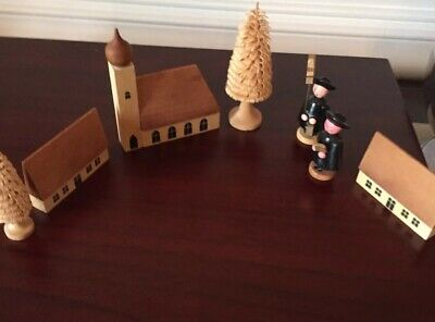 Vintage Set of 7 German Wooden Miniatures  Carolers, Church, Houses, Xmas Trees