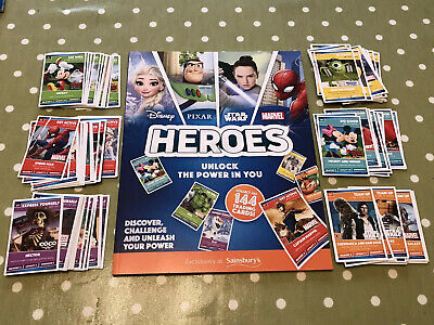 Sainsbury Disney Marvel Heroes Trading Cards Full Set 144 Cards including Album