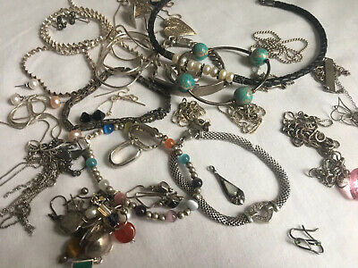 Vintage Sterling Silver 925 Jewelry Lot 169 Grams Necklaces Wearable Scrap