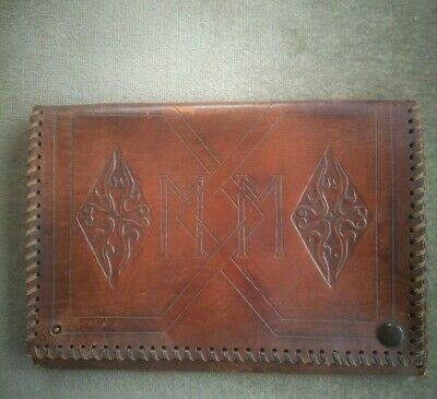 Early 20th Century Antique ART NOUVEAU Tooled BROWN LEATHER Document Folder