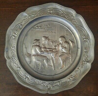 Germany European Peasant Tavern High Relief Angel Mark Pewter Hanging Plate