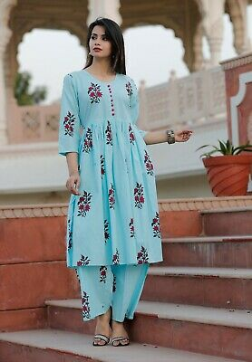 India  Pakistani Kurta Kurti Palazzo Set Straight Printed Casual Top Tunic